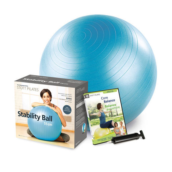 Merrithew Health & Fitness Stability Ball Plus Power Pack - 55cm (Blue - English/French) (DV-82306). ürün görseli