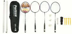 Resim Protech Badminton Raket Seti - 4 Adet Raket + 3 Adet Top + File + Çanta